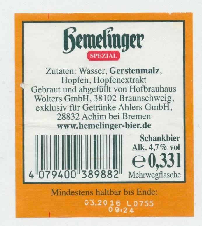 Hemelinger Spezial Schankbier | BLOG-B.INFO
