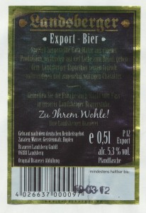 Landsberger Export- Bier