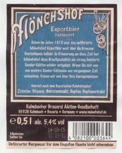 Mönchshof Exportbier Unfiltriert