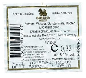 Singha Lager Beer