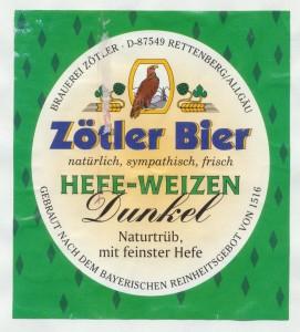 Zötler Bier Hefeweizen Dunkel